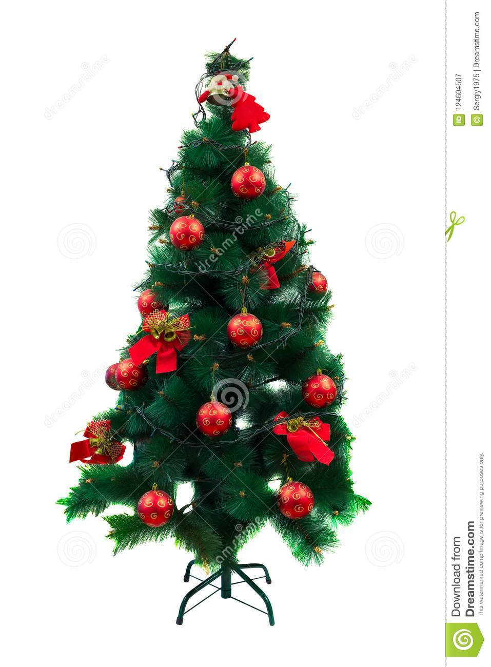 download green christmas tree with christmas decorations isolated on white background stock image image of