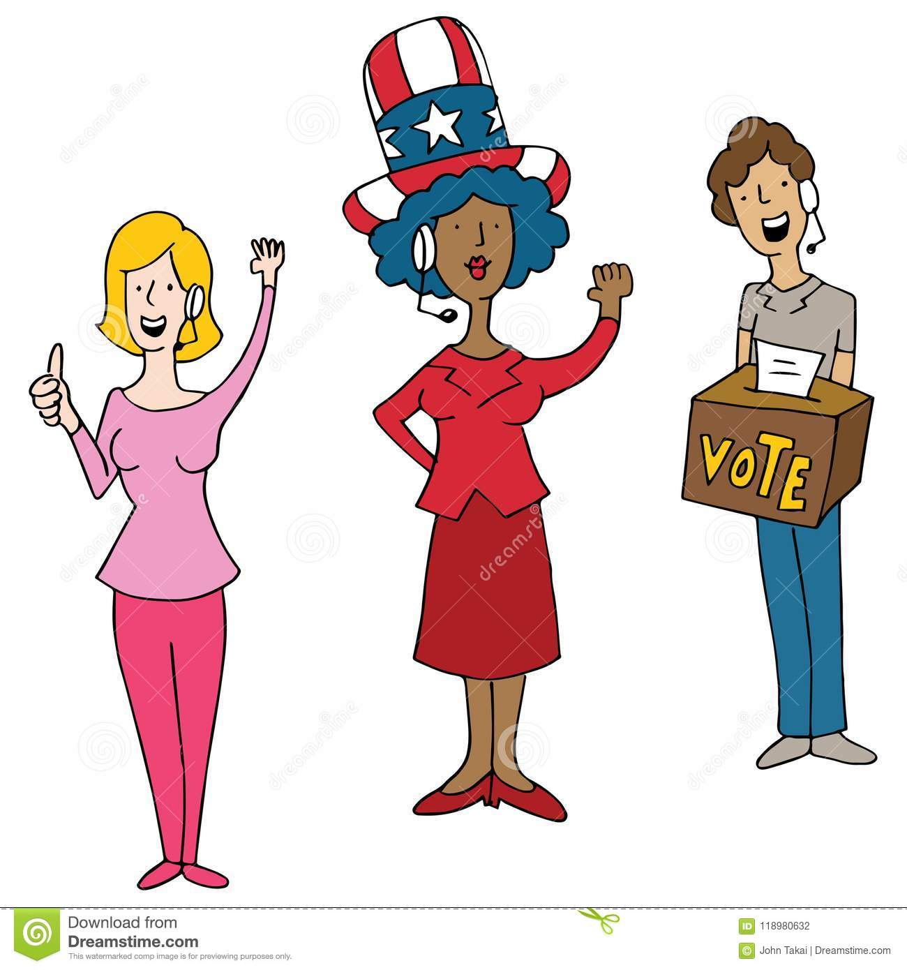 Download Headset Wearing Operators Election Day Voting Cartoon Stock Vector - Illustration of funny, voting: 118980632