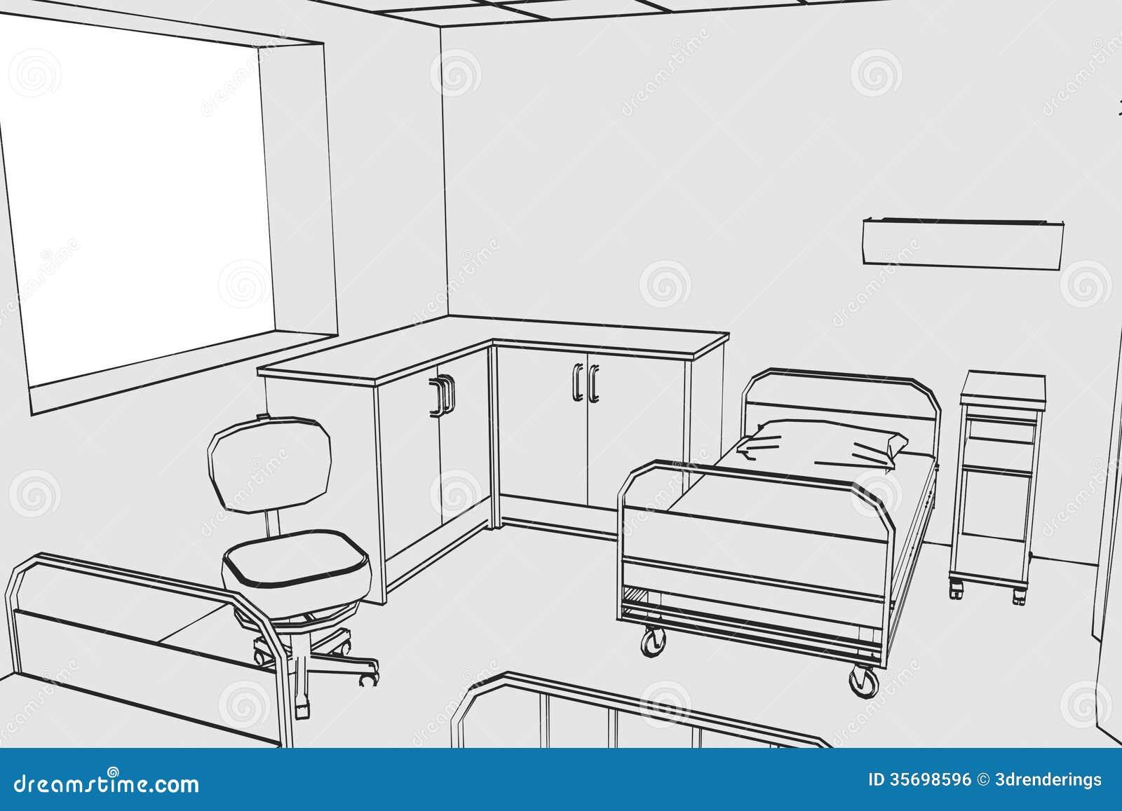 Cartoon Room: Image Of Hospital Room Royalty Free Stock Image