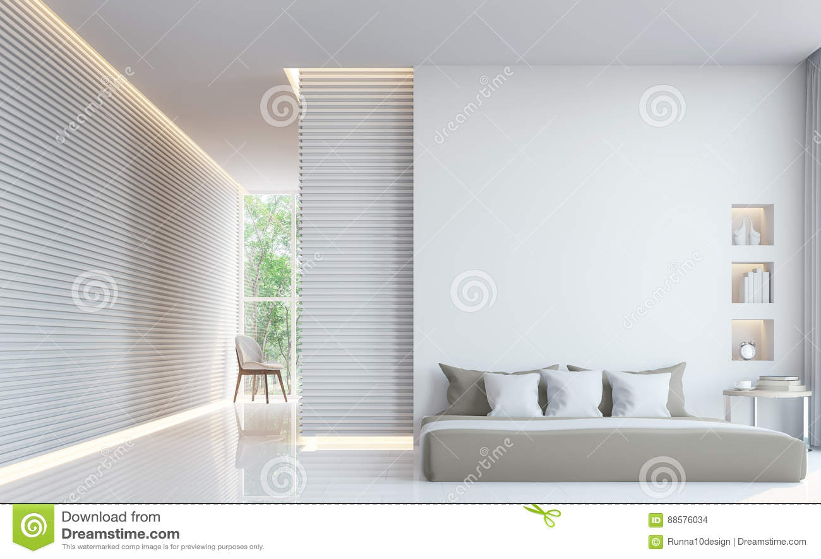 Image Intérieure Du Rendu 3d De Chambre à Coucher Blanche Moderne ...