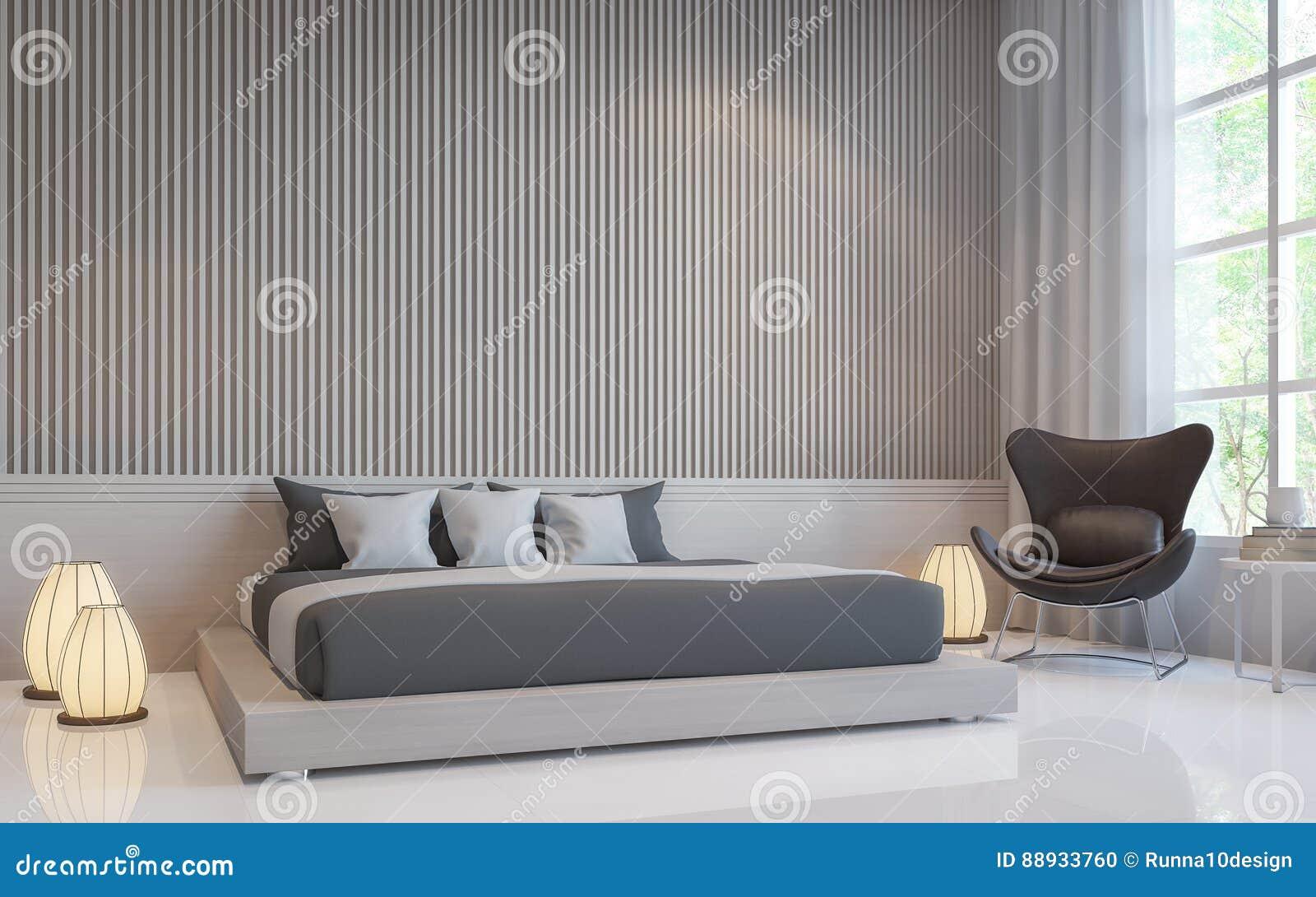 Image Intérieure Du Rendu 3d De Chambre à Coucher Blanche ...