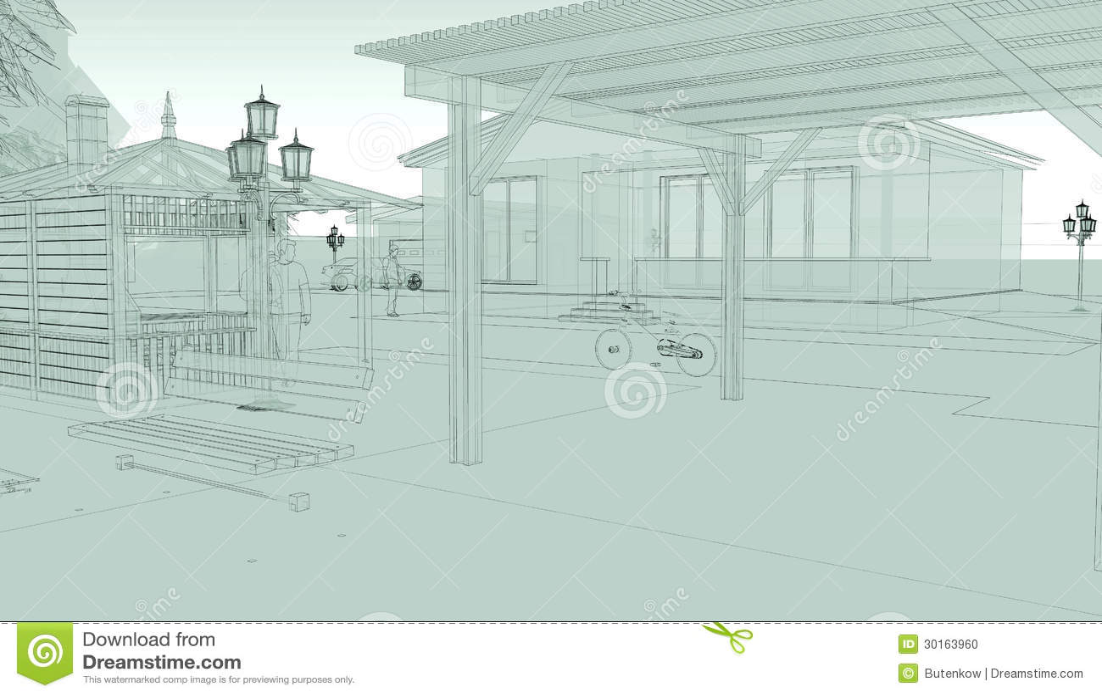 Croquis de perspective de rue de ville illustration stock illustration du forme avant 30163960 - Dessin en perspective d une maison ...