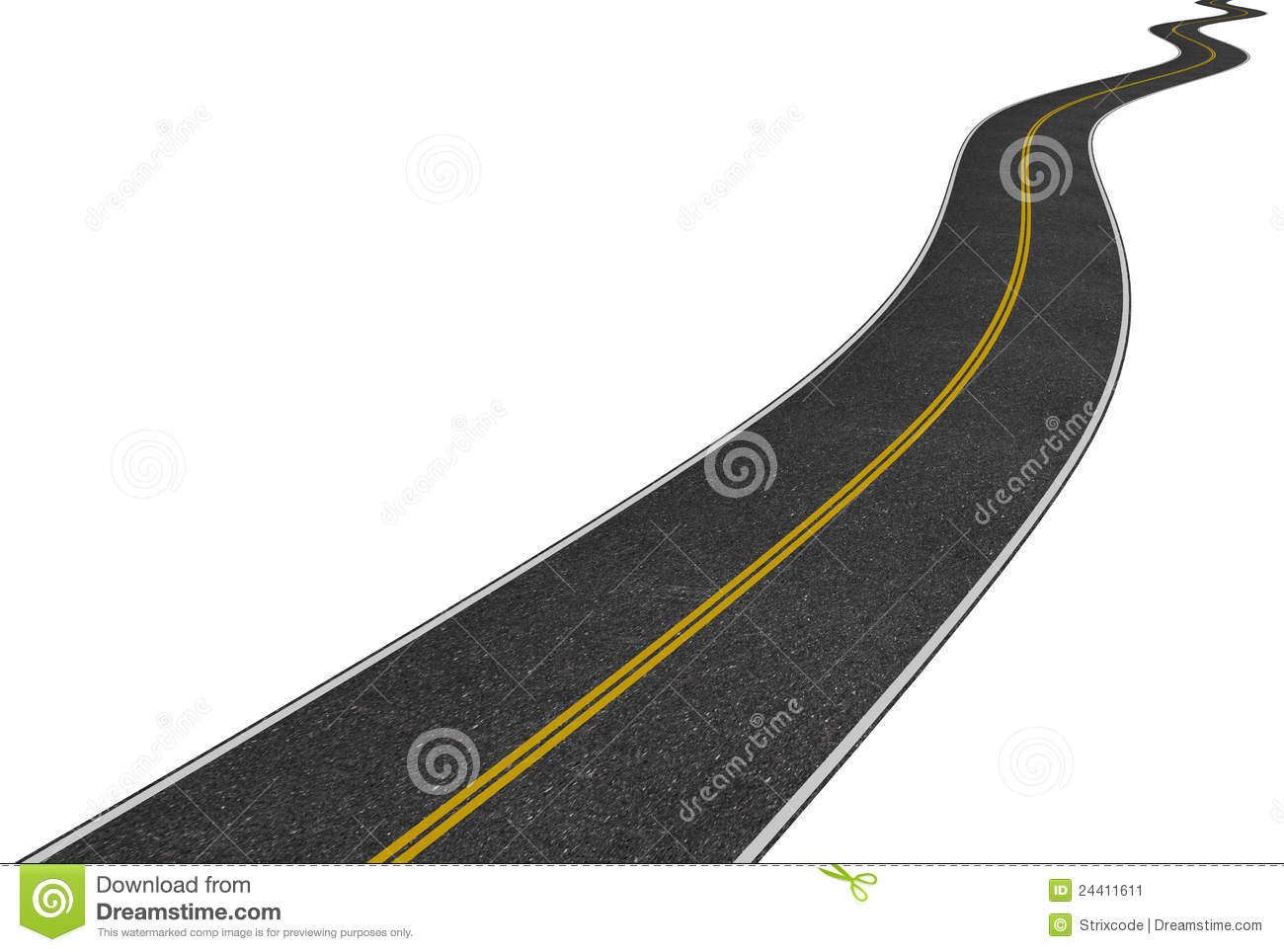 Winding Road Clipart Image of a long winding road