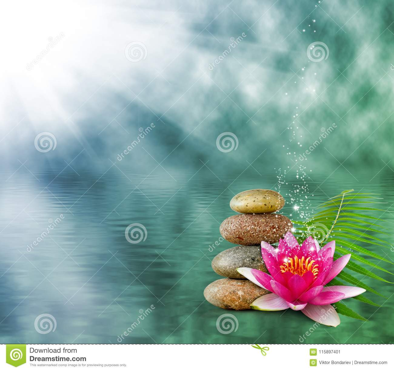 Lotus Flower On Water Background Stock Image Image Of Order Ocean