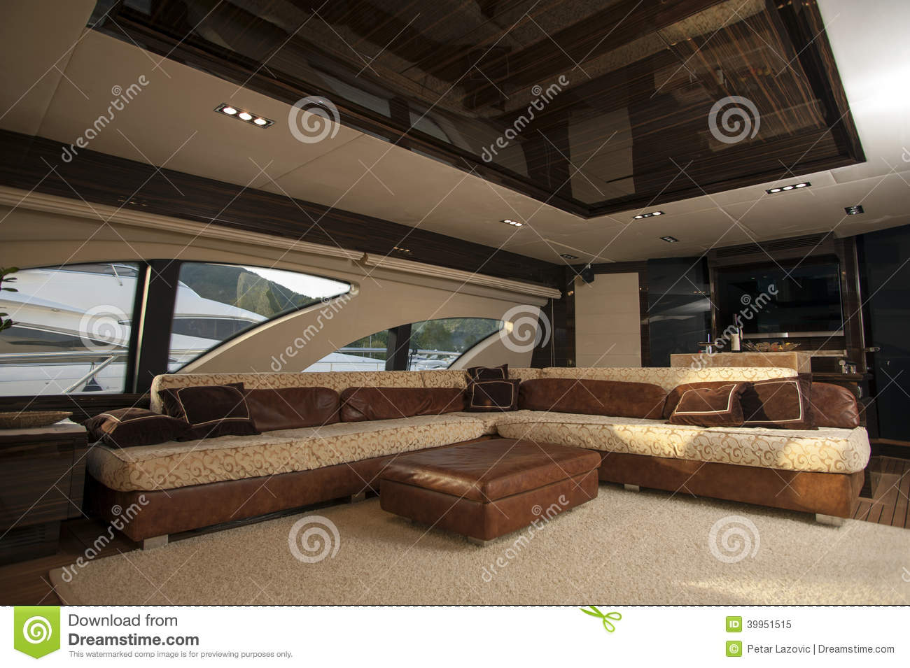 of luxury ship interior, comfortable sailboat cabin, expensive wooden ...