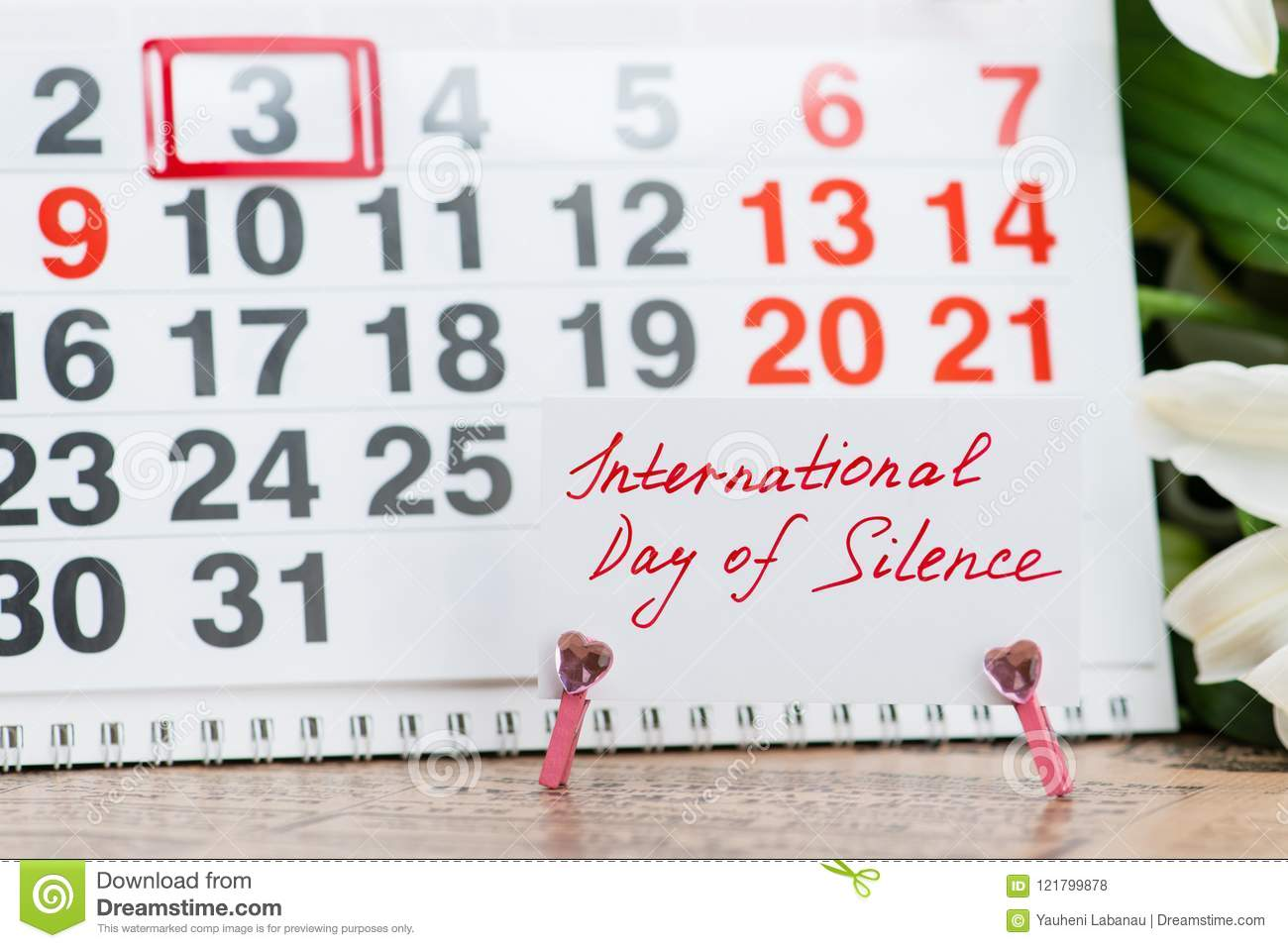 International Day Of Silence On The Calendar Stock Photo Image Of