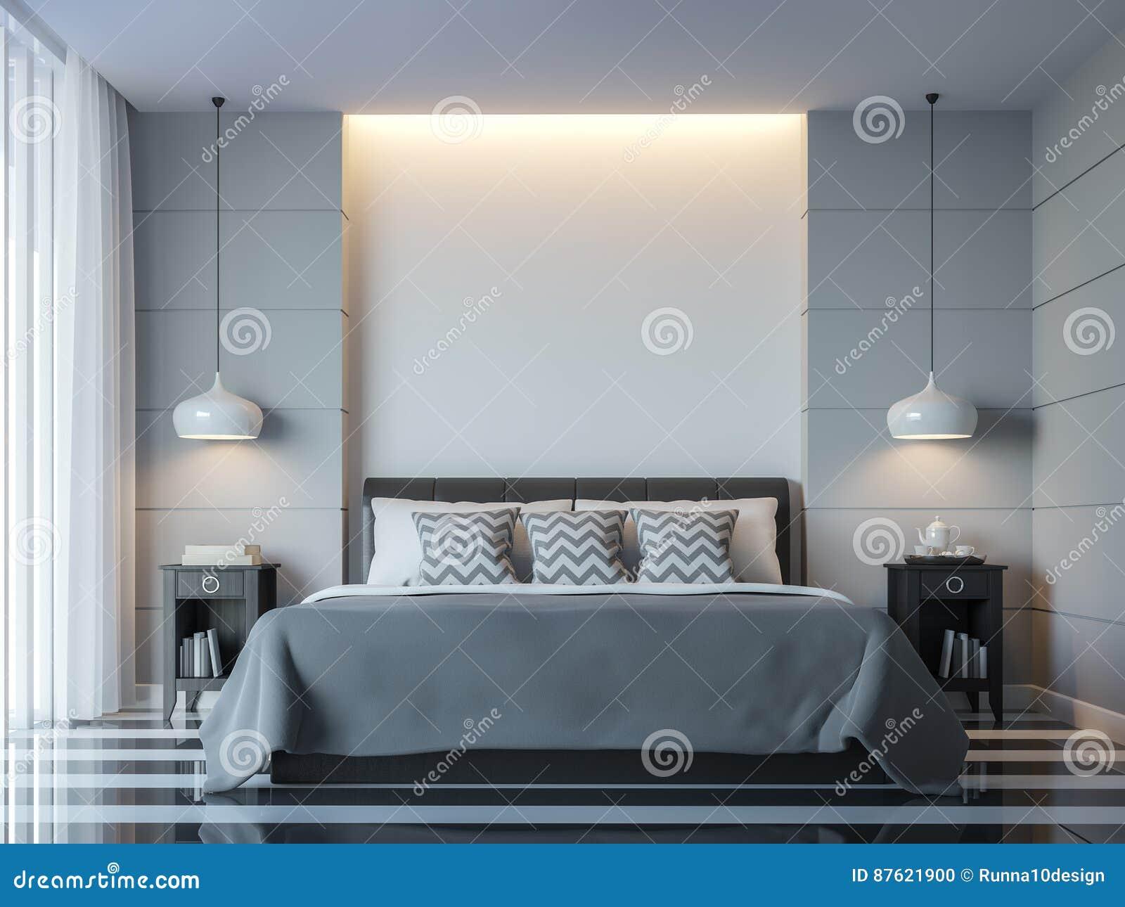 Chambre Couleur Gris Blanc image minimale de rendu du style 3d de chambre à coucher