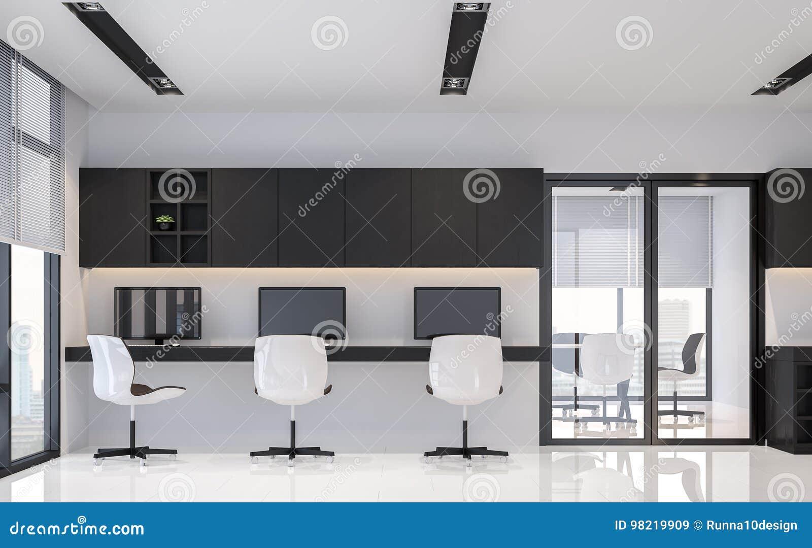 Image minimale intérieure de rendu du style 3d de bureau noir et