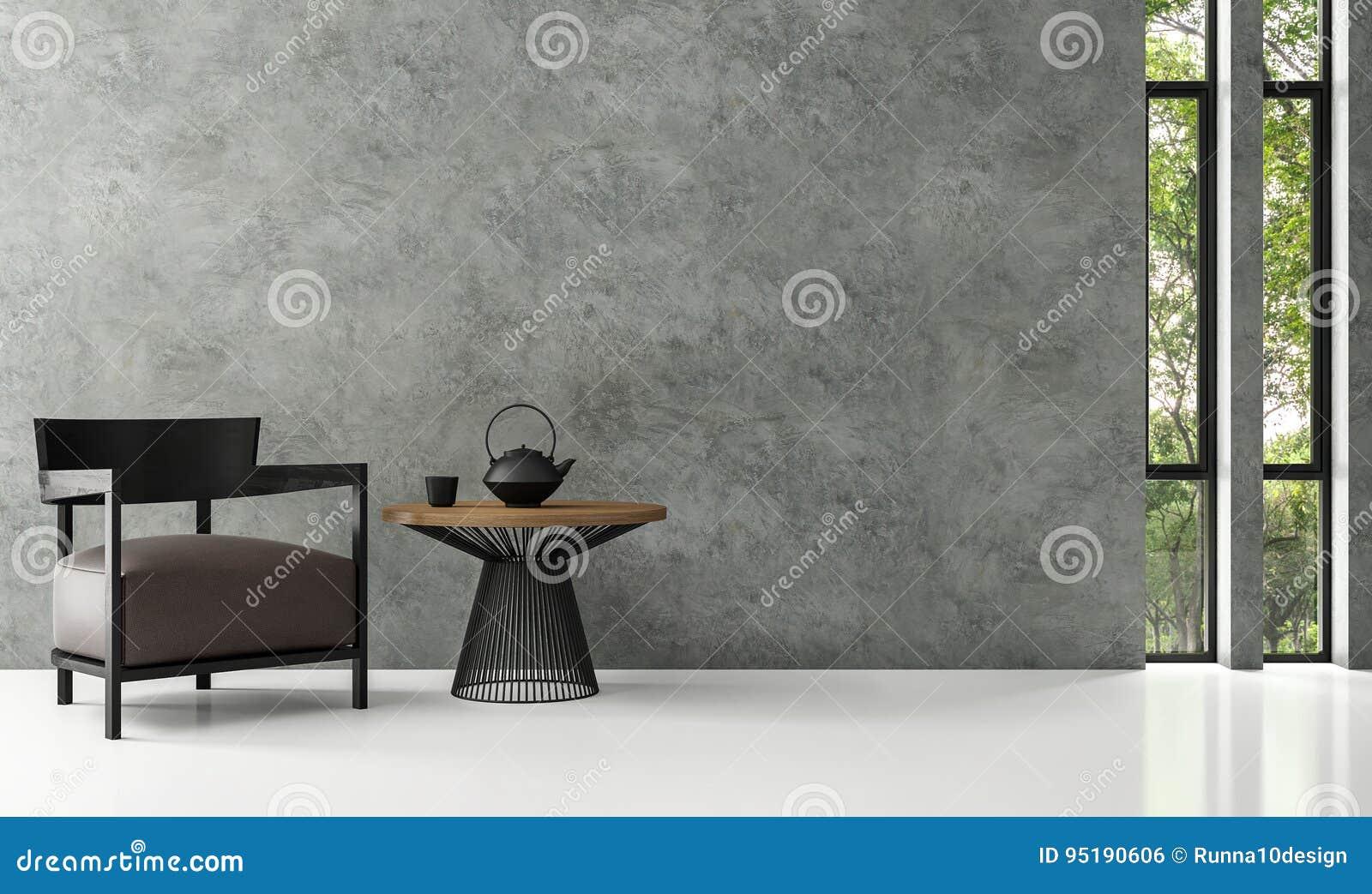 Image moderne de rendu du salon 3d de grenier