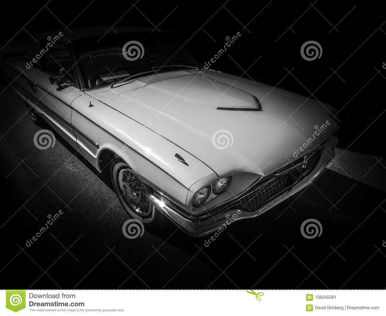 Monochrome American Muscle Car On Black Background Stock Image