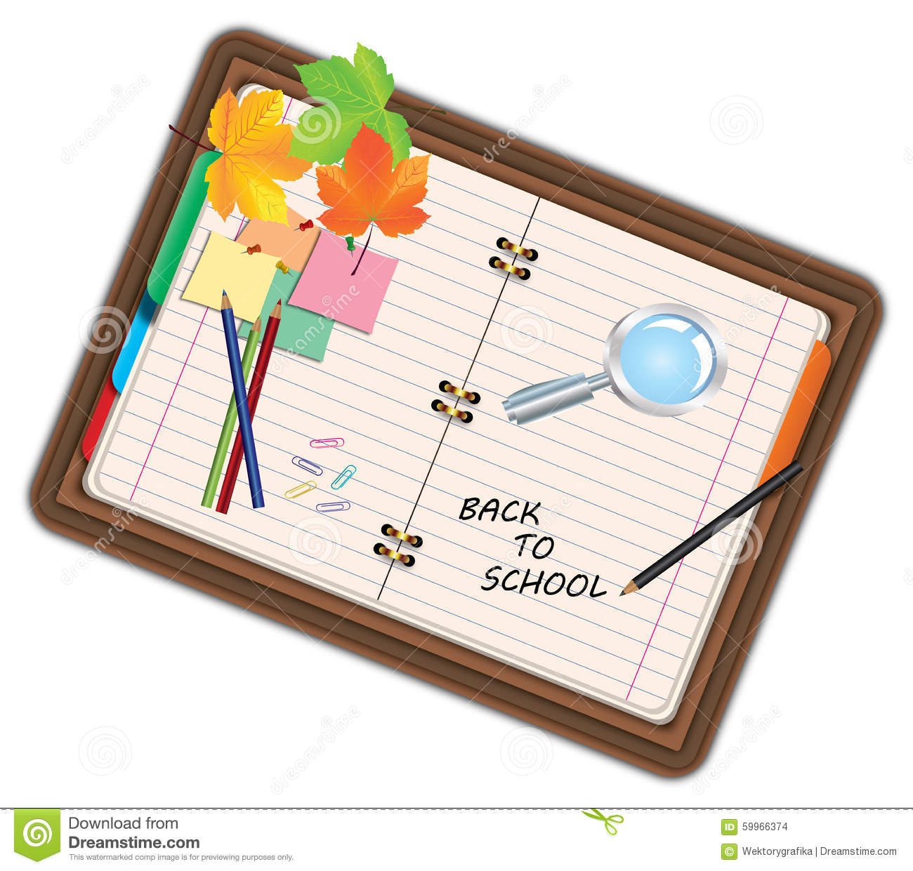 Cartoon Diary: Image Of Notebook, Pocketbook, Diary With Sign Back To
