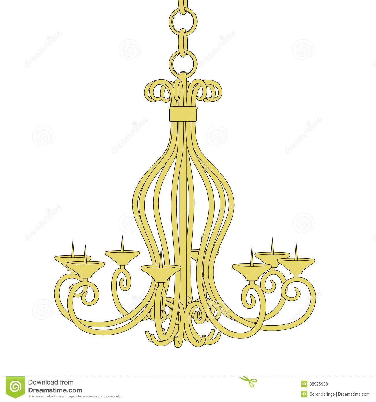Image Of Old Chandelier Stock Illustration Graphics