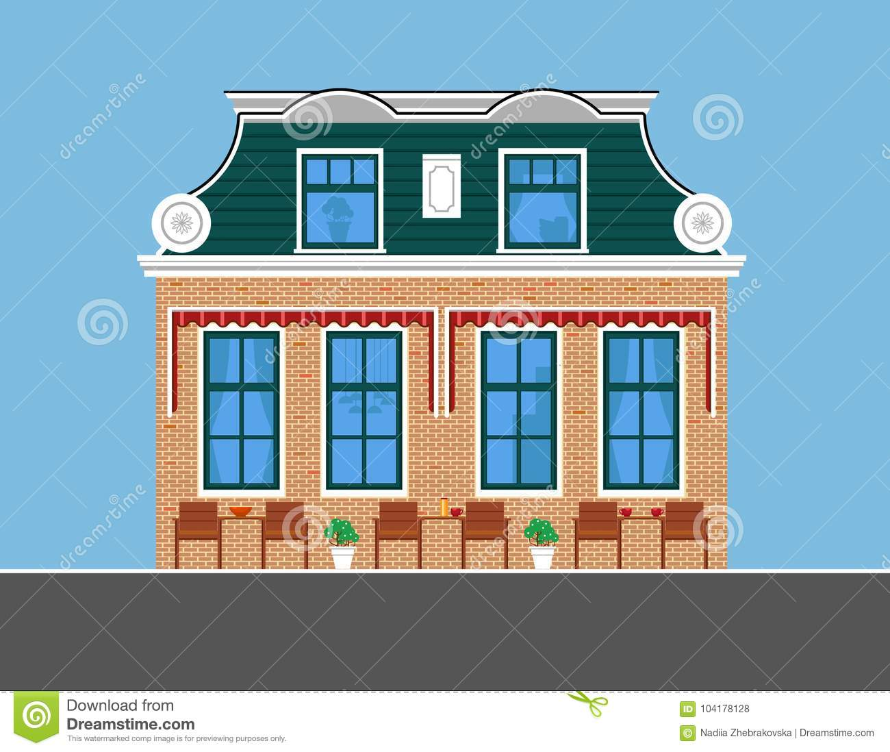 Image of old style townhouse with green roof flat style