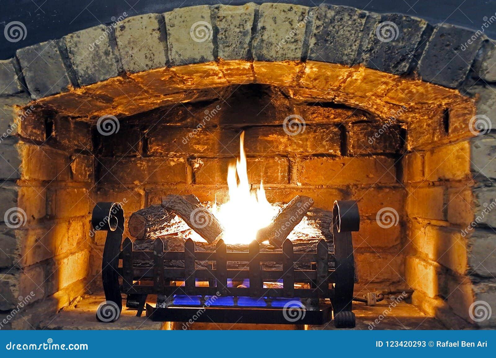 Open Fireplace And Wood Burning Stock Image Image Of Corner