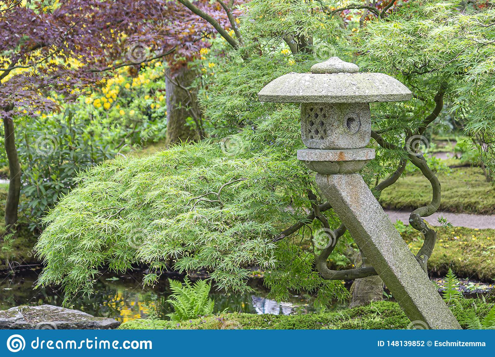 An Image Of A Pagoda For A Pond With Old Acers In Different Colors