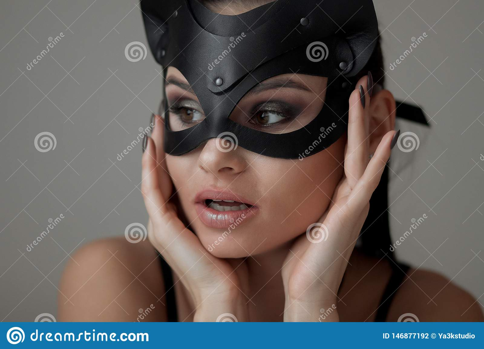 Brunette Girl In A Cat Mask Stock Photo Image Of