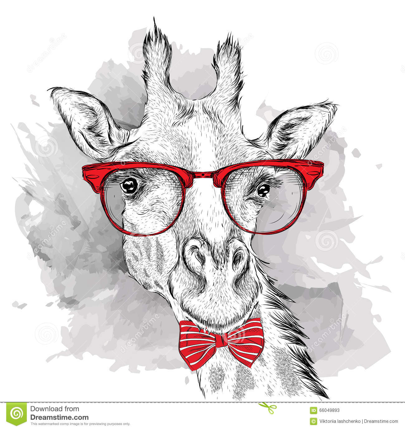 94e2409780bfb Image Portrait giraffe in the cravat and with glasses. Hand draw vector  illustration.