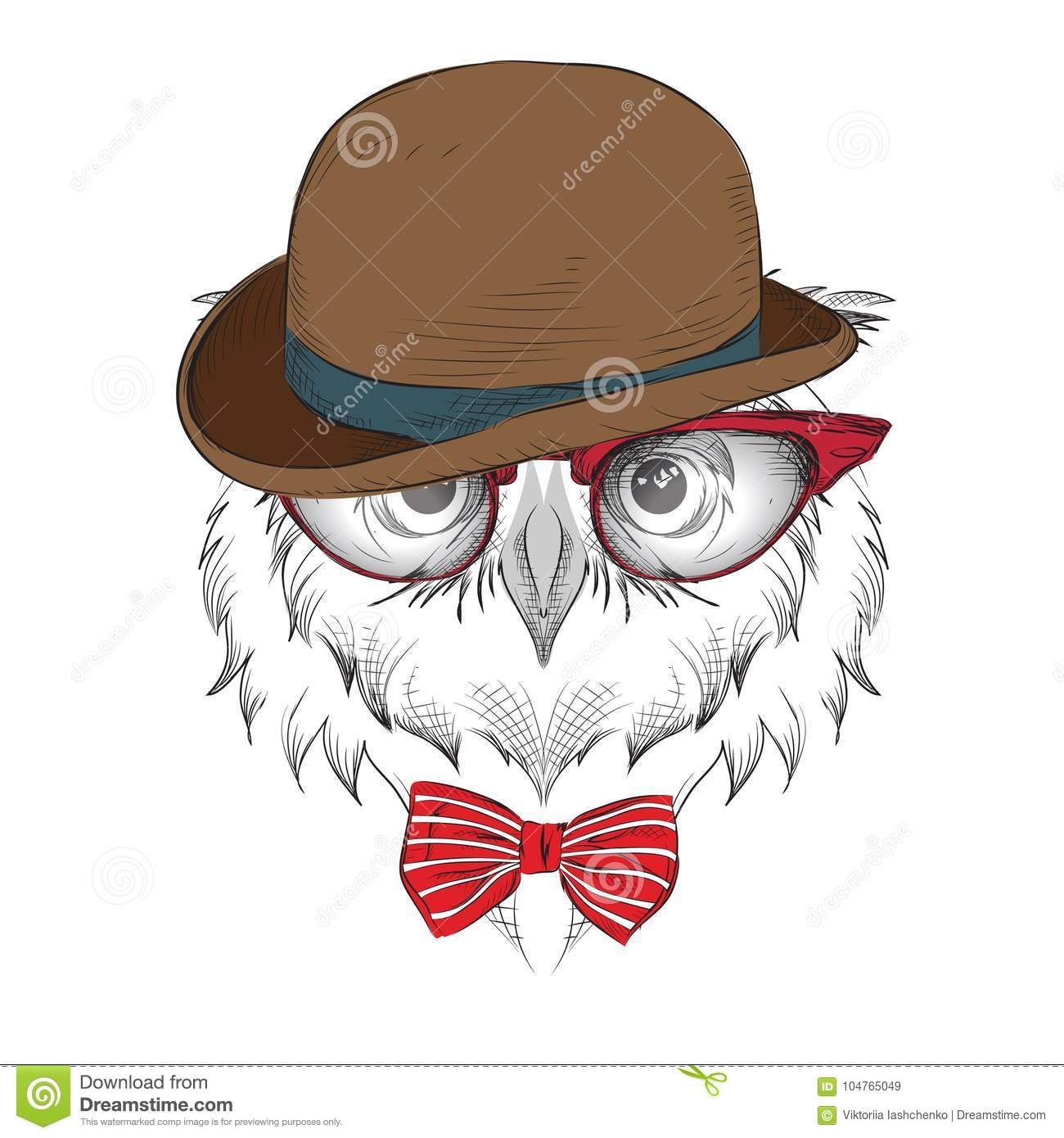 0018f019762 Image Portrait owl in the glasses and Hat.   african   indian   totem    tattoo design. Use for print