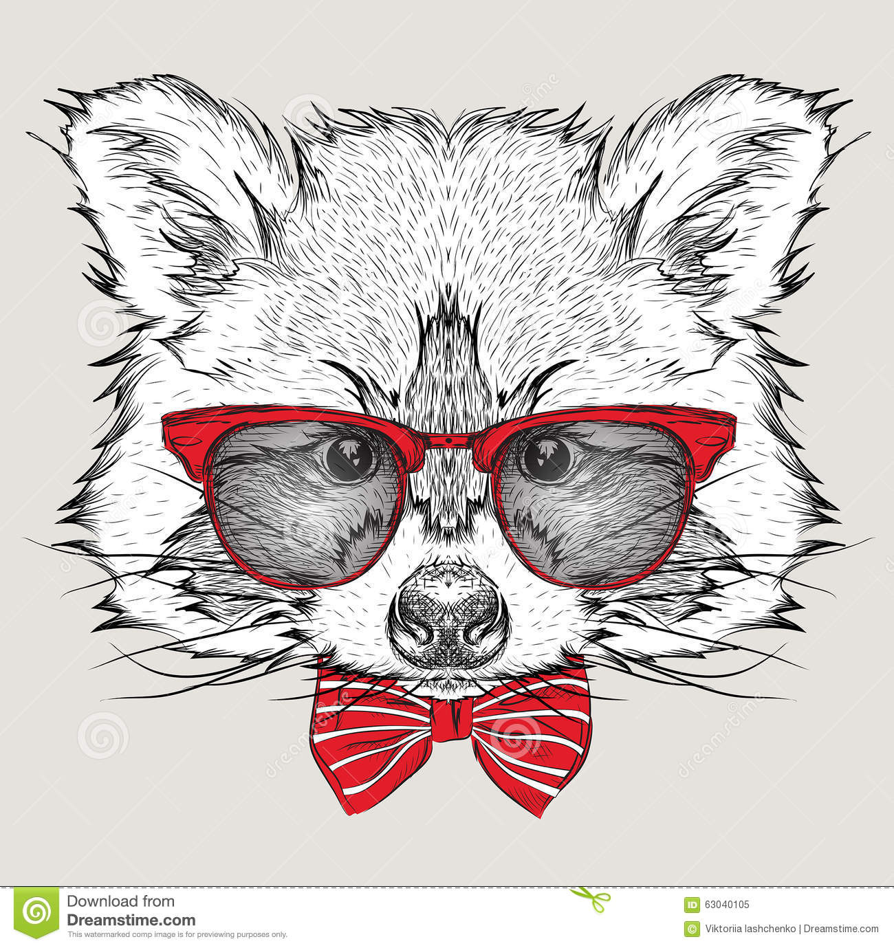 f1754339c176a Image Portrait raccoon in the cravat and with glasses. Hand draw vector  illustration.
