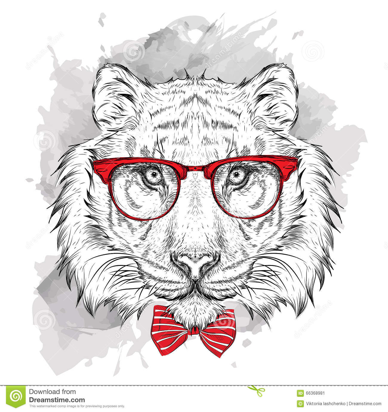 ff284c484cbbd Image Portrait tiger in the cravat and with glasses. Hand draw vector  illustration.