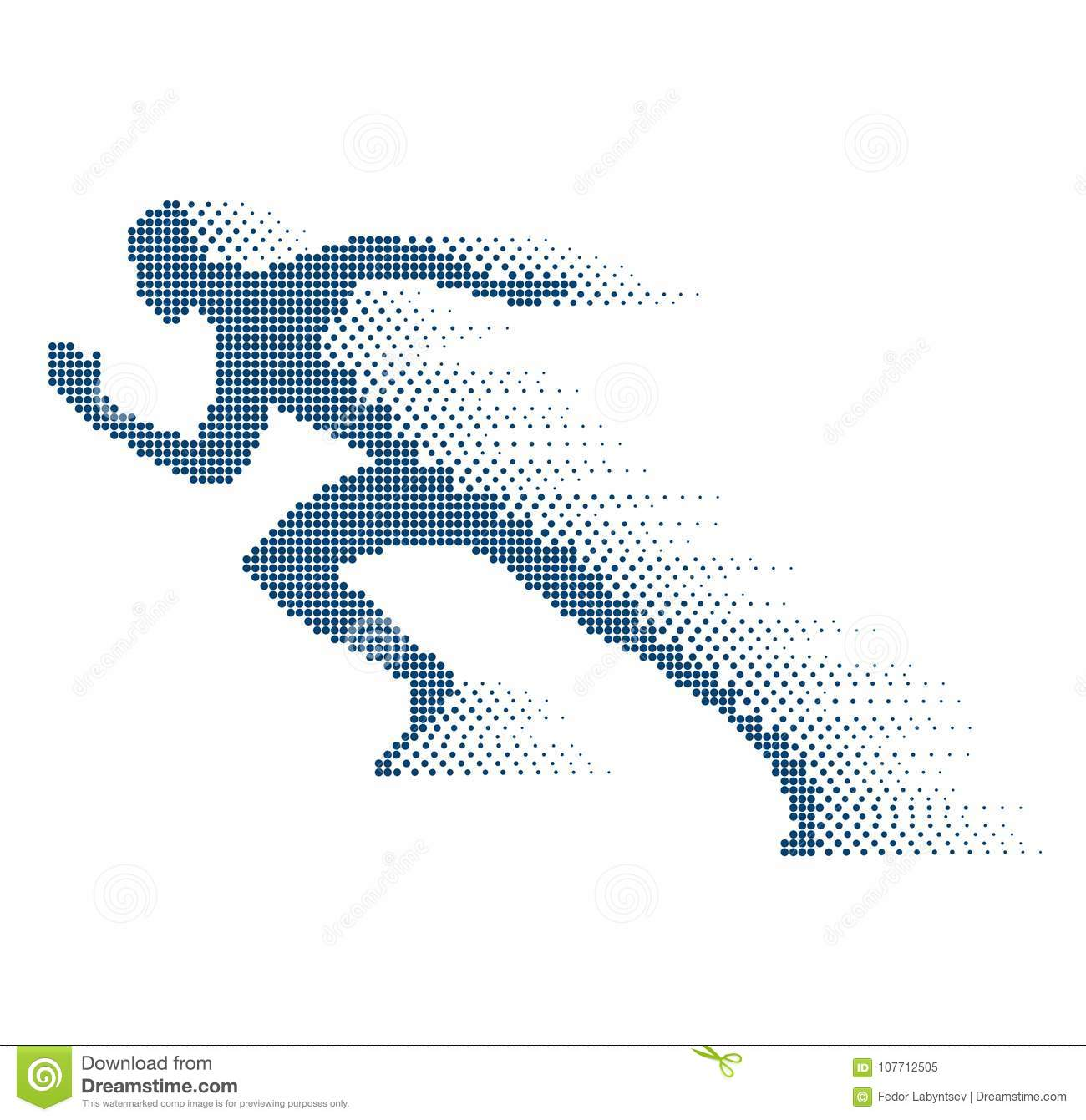 Collapsing silhouette of the running athlete