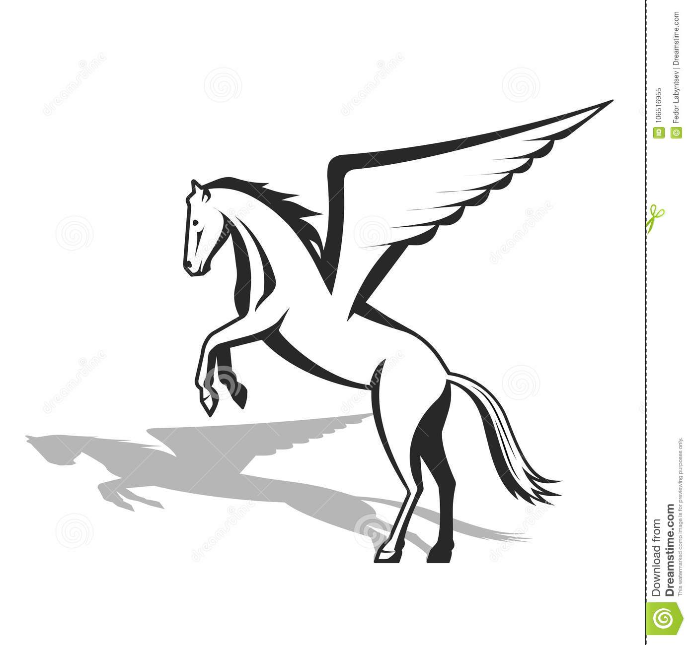Pegasus A Mythological Being A Horse With Wings Stock Vector Illustration Of Community Black 106516955