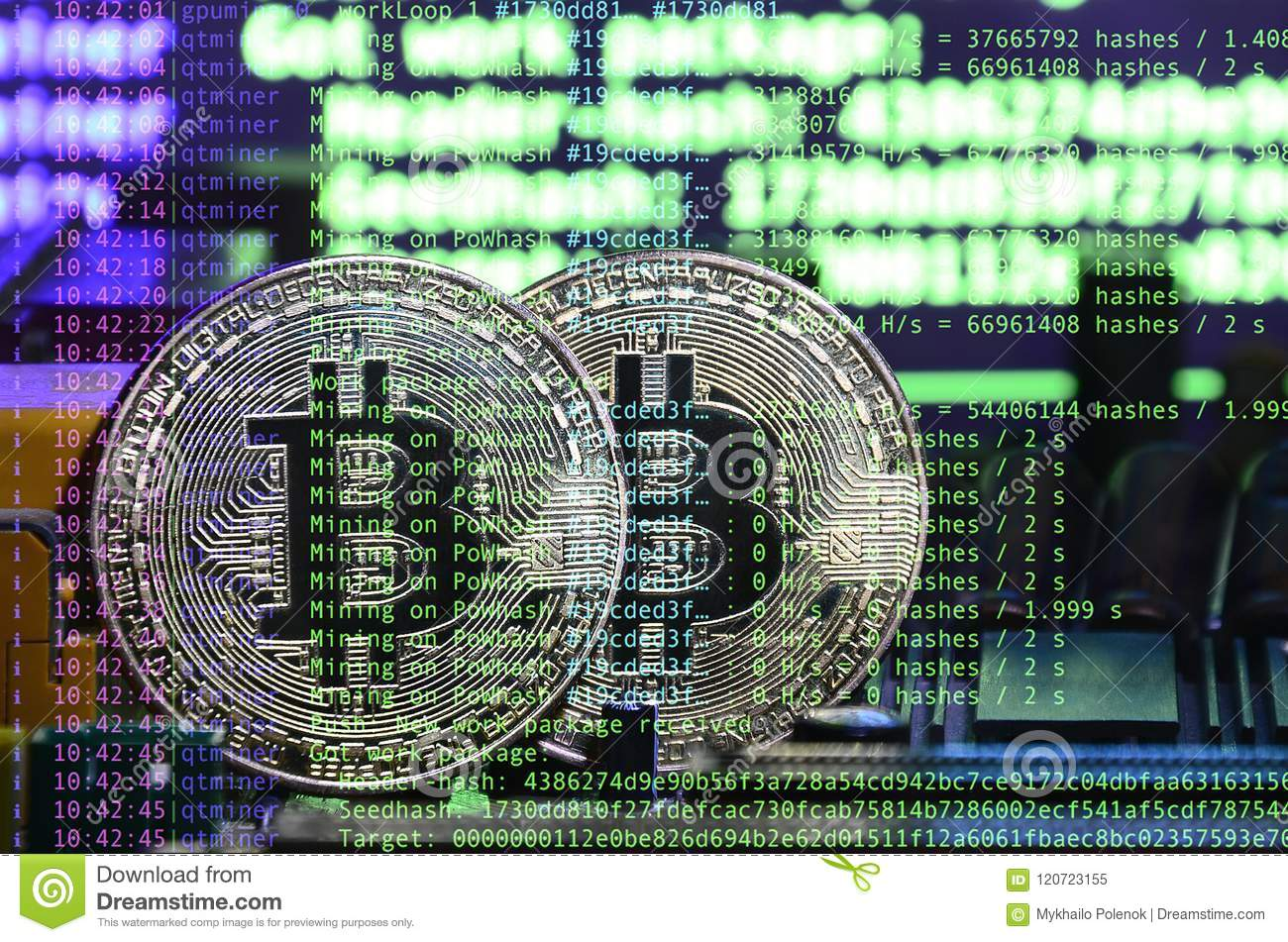 Image of the program code showing the process of mining the crypto currency in the background of the image with bitcoin