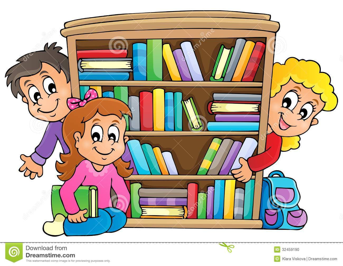 Image With Pupil Theme 5 Stock Vector Of Bookcase