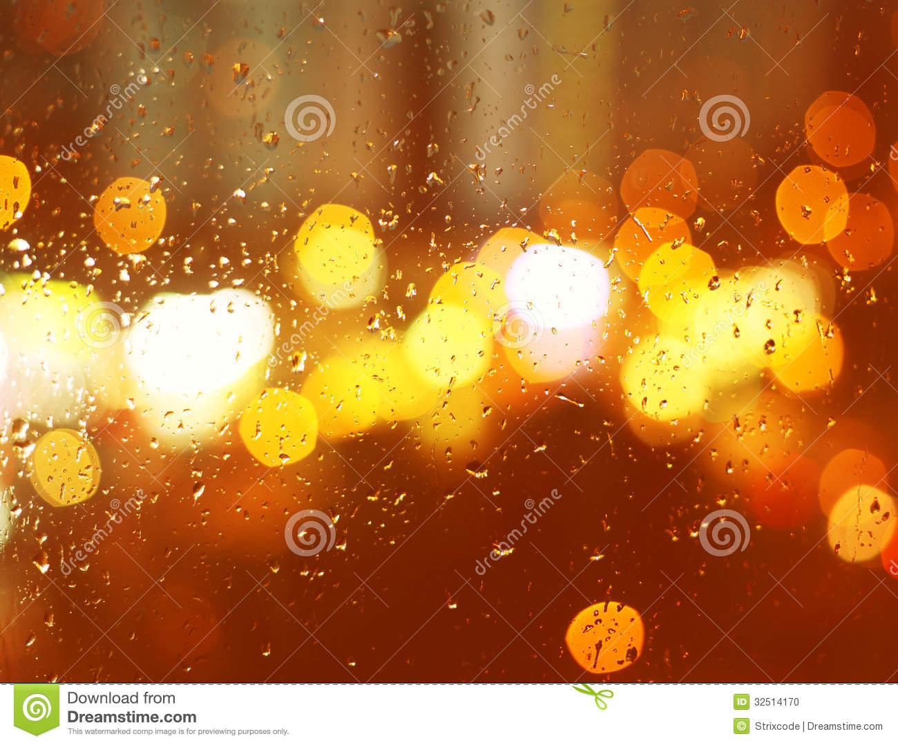 Image Of Raindrops On Window At Night In The City Stock ...