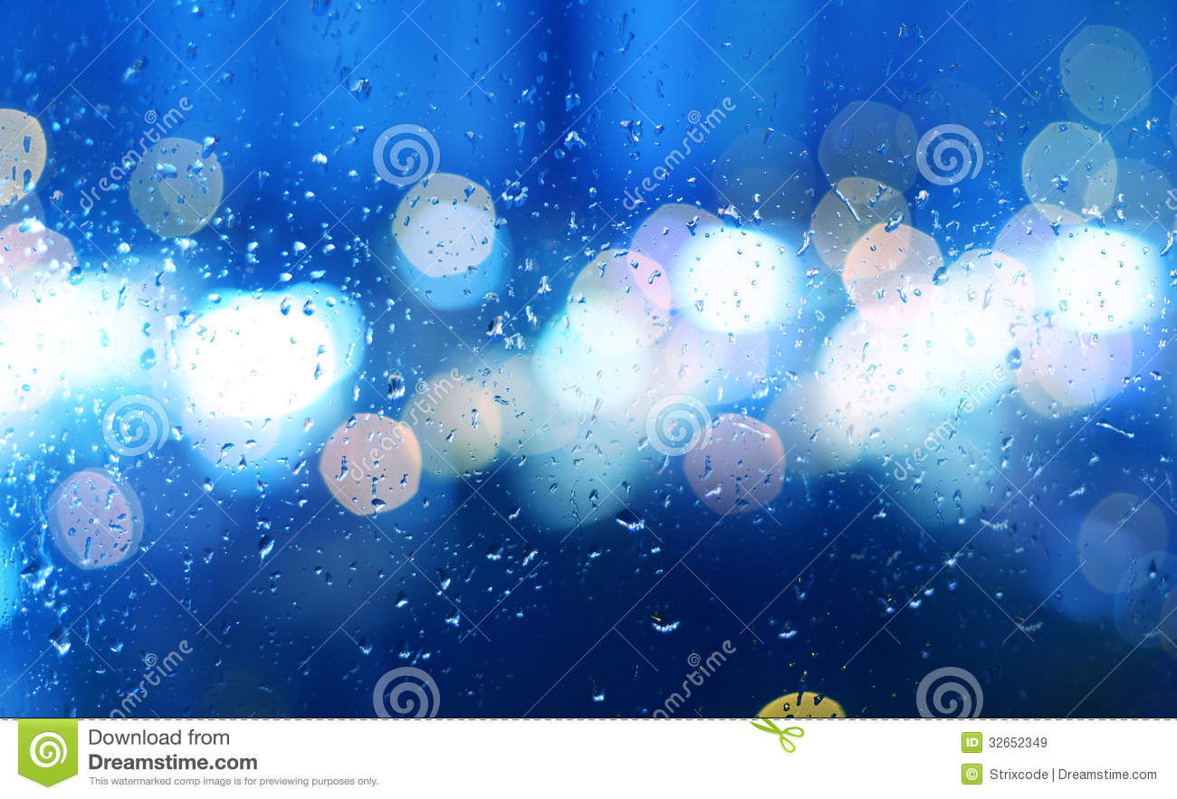 Image Of Raindrops On Window At Night In The City Royalty ...