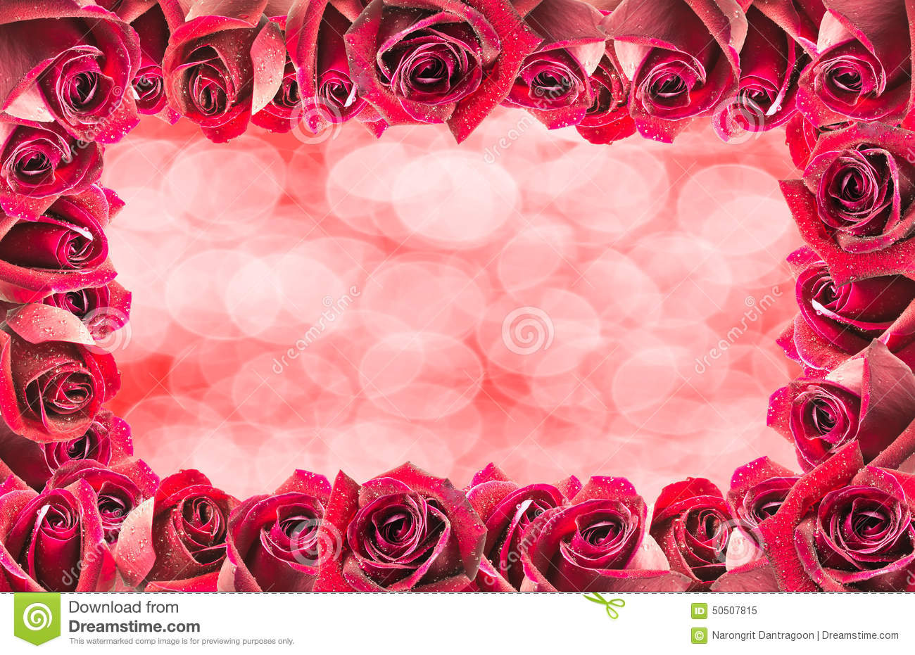 Image Of Red Roses Frame Background With Bokeh Stock