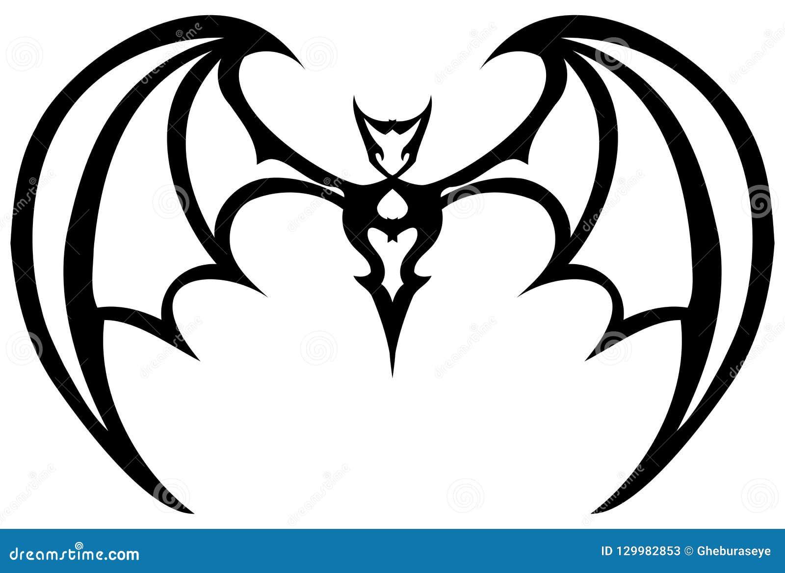 Isolated black and white stylized bat