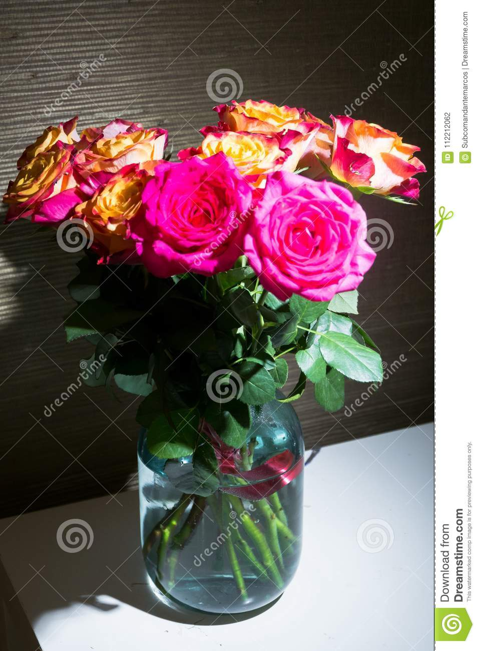 Festive Bouquet Of Fresh Roses With Original Yellow And Crimson