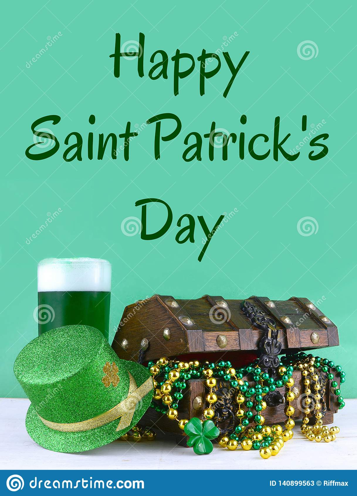 Image for Saint Patrick`s Day on March 17th. Treasure chest to symbolize luck and wealth. Vertical image.