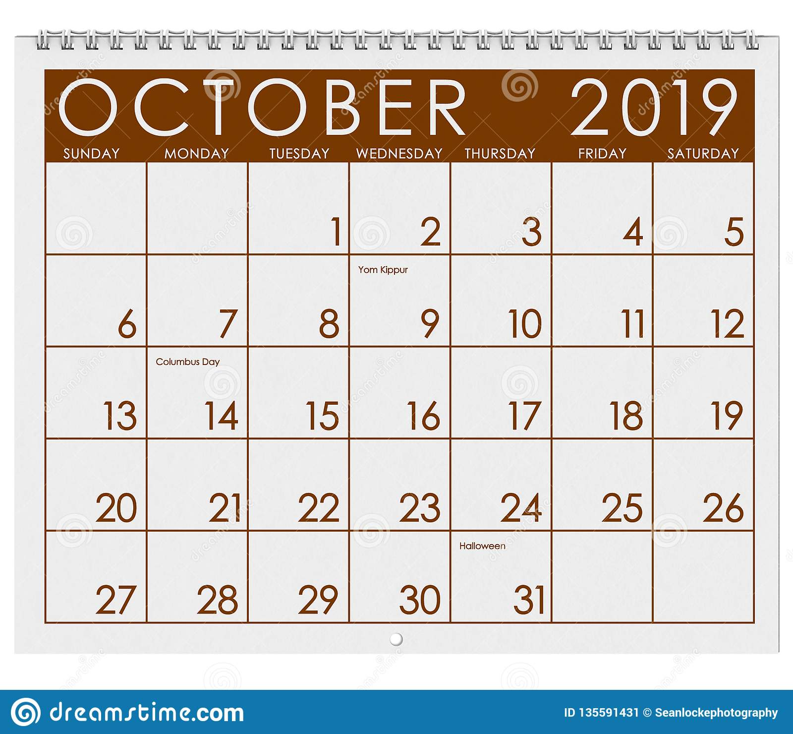 2019: Calendar: Month Of October