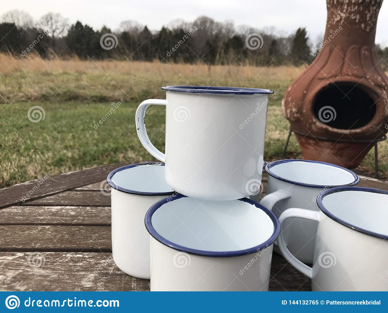 Enamelware Camping Cups Mugs Mock Up Stock Image Image Of Design Coffee 144132765
