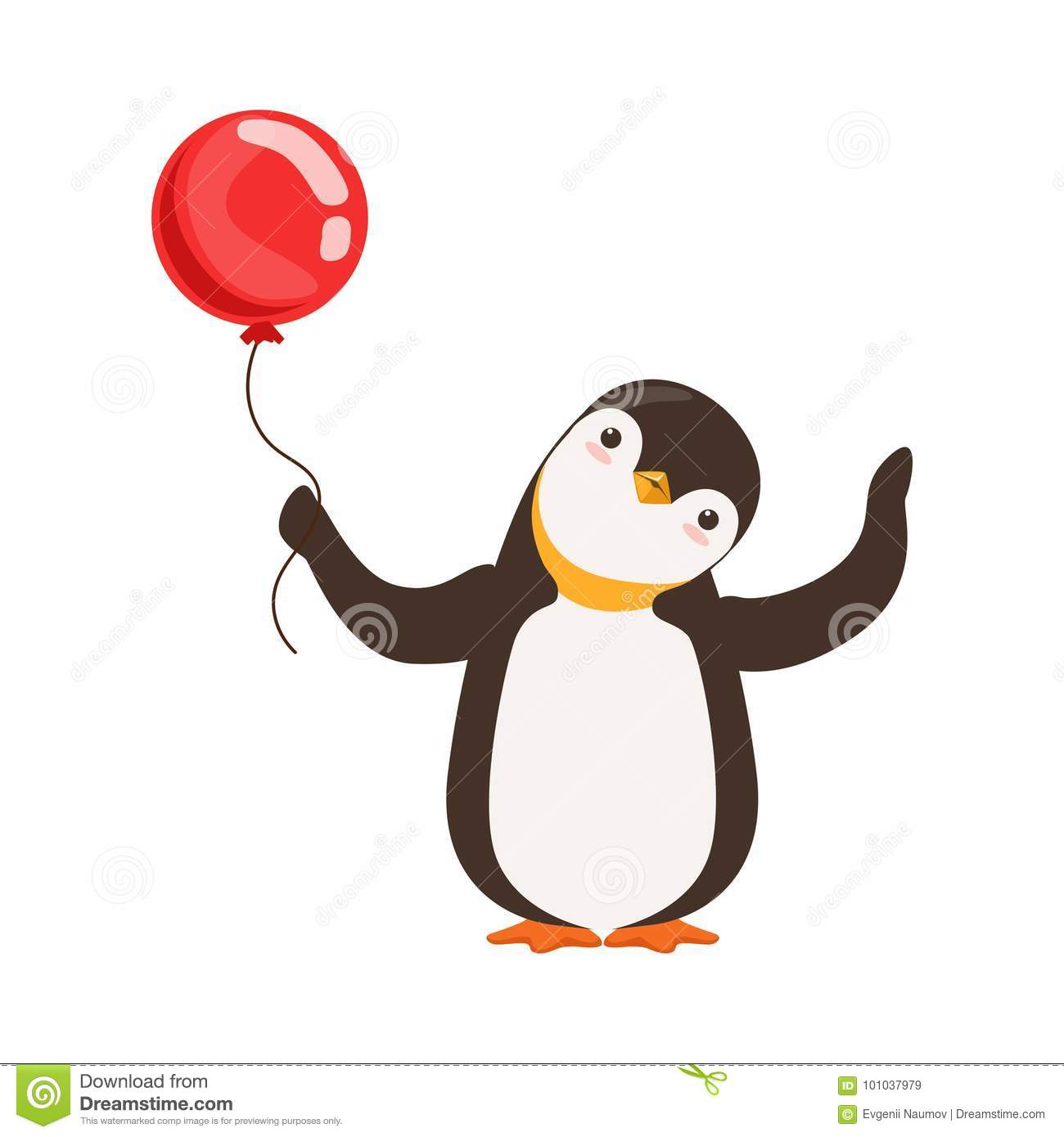 Cute Doodle Penguin Character Is Holding A Red Baloon On A
