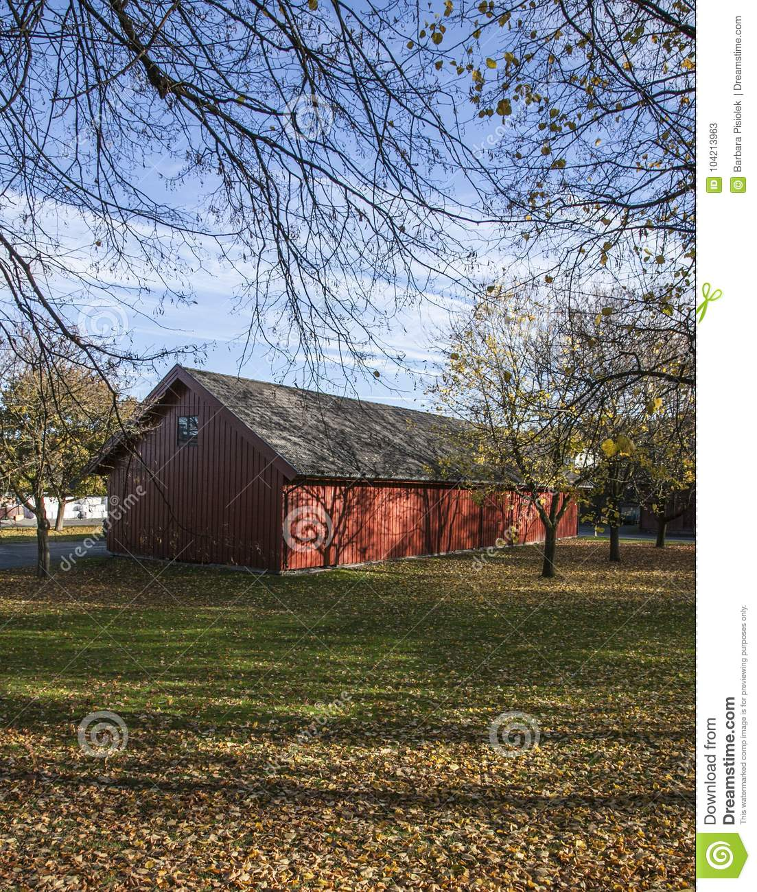 bb5cc35c Park, Oslo, Trees And A Barn. Stock Image - Image of 2017 ...