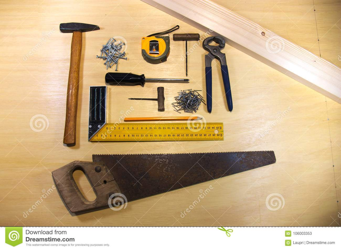 Tools For Carpentry On The Table Stock Image - Image of bracket ...