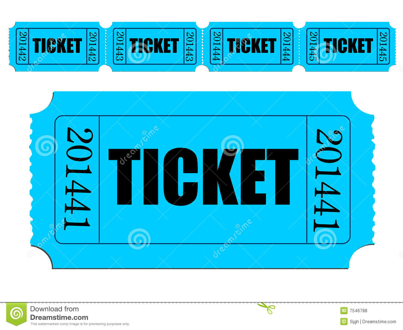 Single Raffle Tickets Image of single ticket and strip of tickets ...