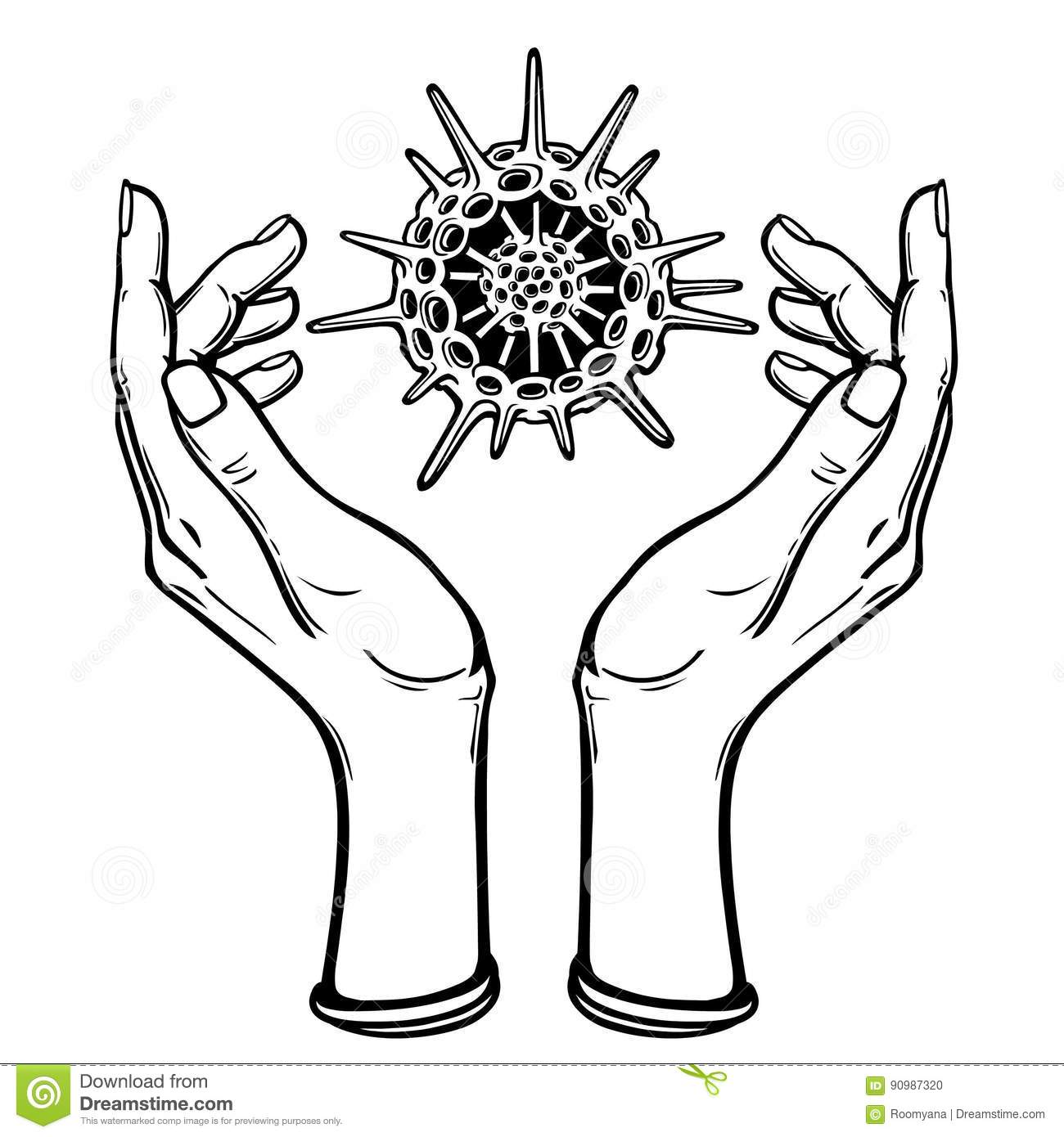 Image The Stylized Hands Hold A Skeleton Of A Radiolaria. Stock ...