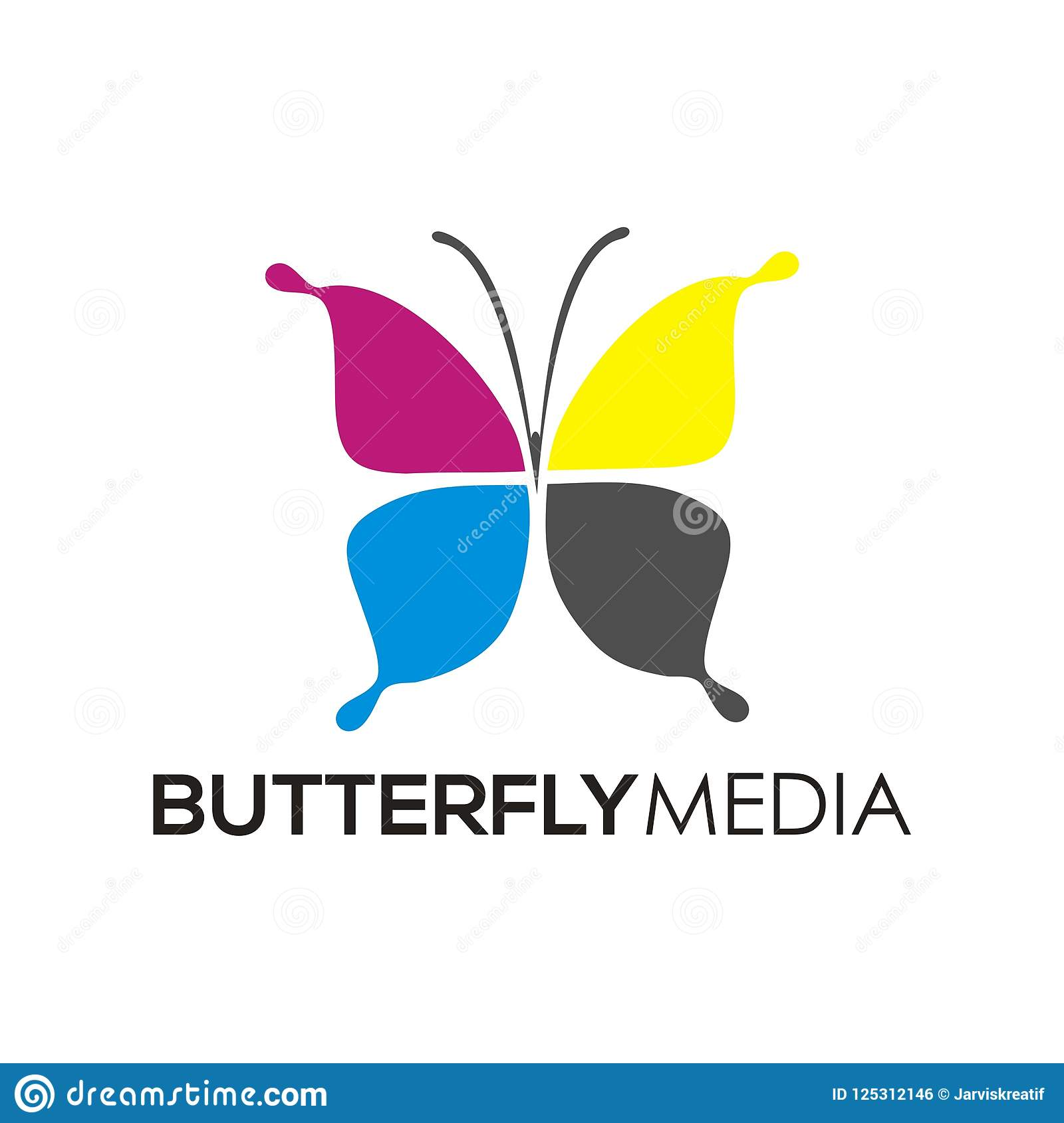 Butterfly Media Logo Icon Print And Design Templates Stock