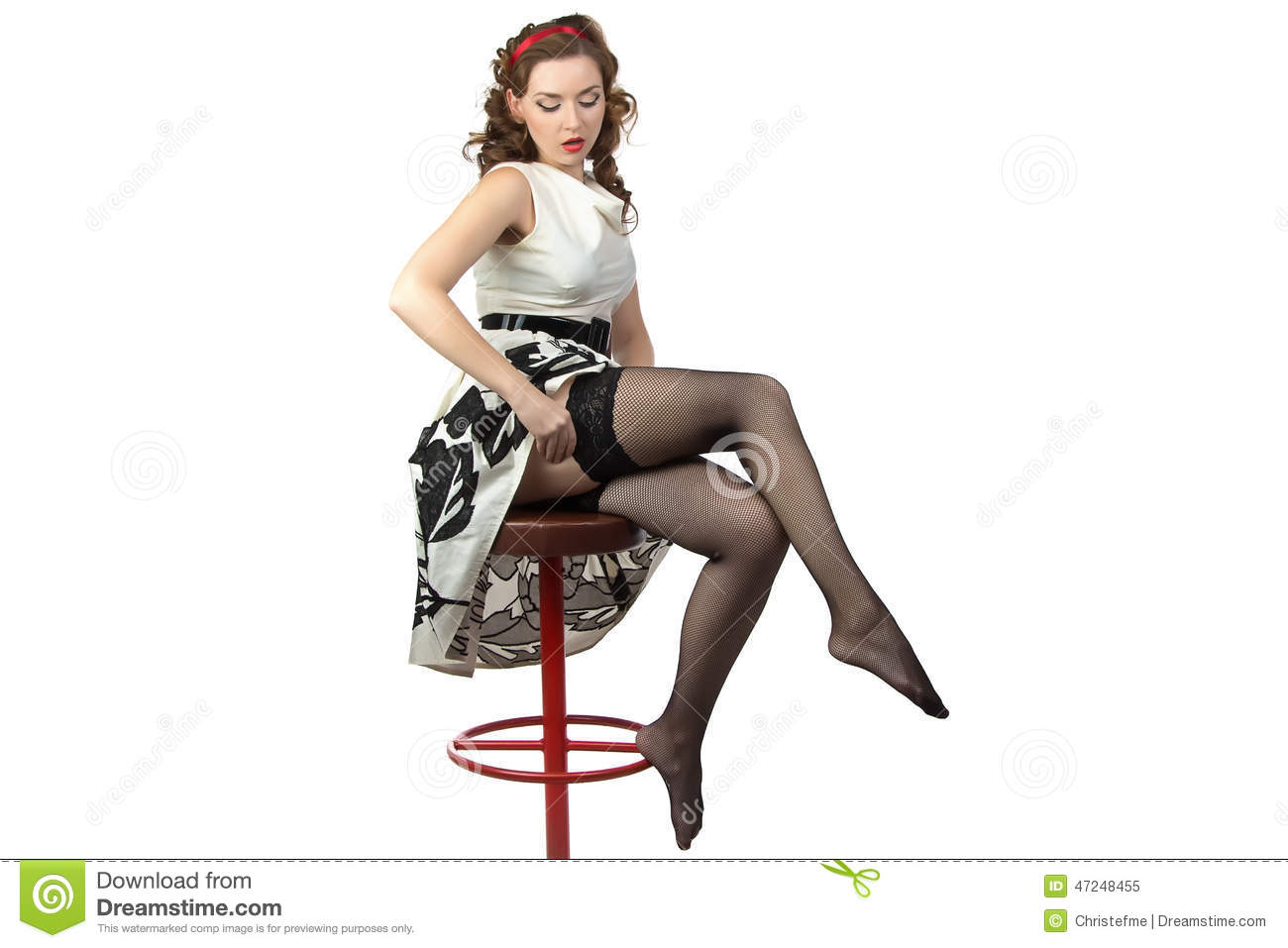 Hair Style 4 Ladies: Image Of The Surprised Woman Wearing Stockings Stock Image