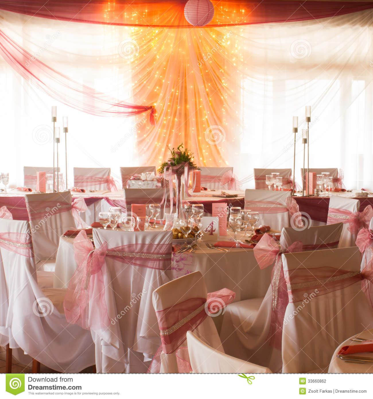 An Image Of Tables Setting At A Luxury Wedding Hall Stock Photo
