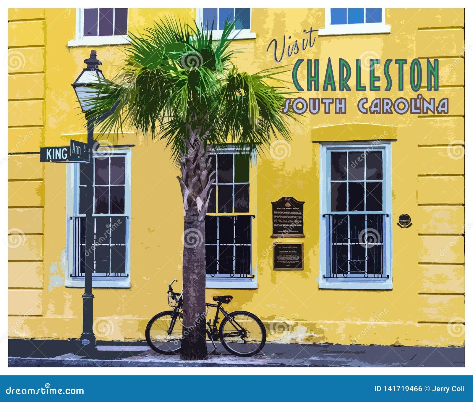 King St Charleston Sc: Visit Charleston, South Carolina Retro Poster Editorial