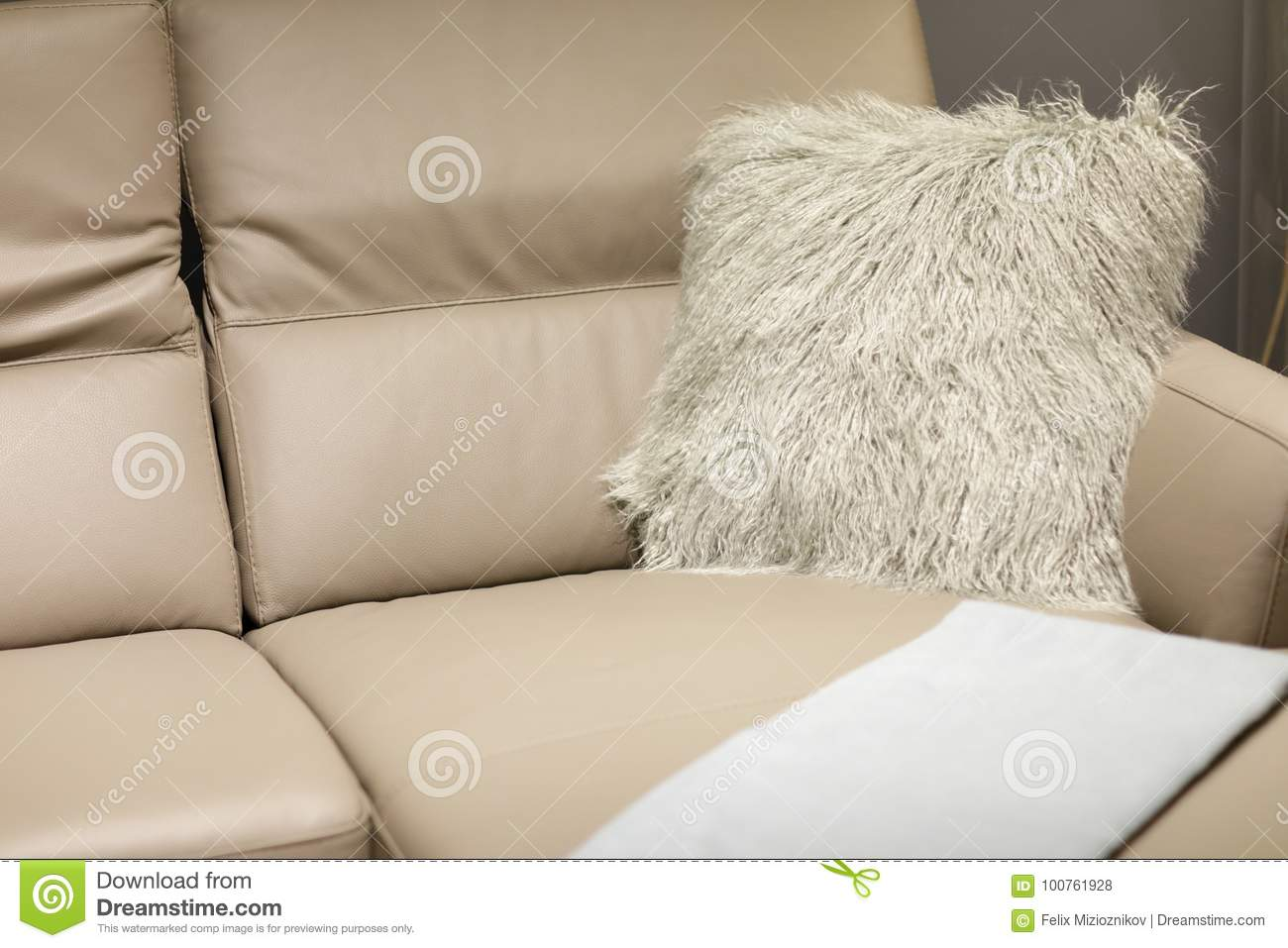 Awesome Leather Couch With Decoration Pillows And Throw Stock Photo Lamtechconsult Wood Chair Design Ideas Lamtechconsultcom