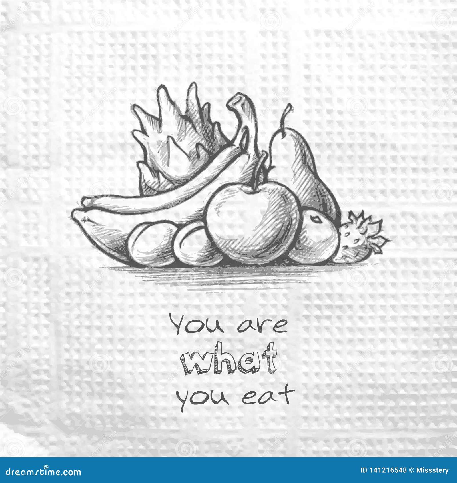 Image tirée par la main de croquis de fruit Êtes vous ce que vous mangez Message sur une serviette de papier Concept sain de moti