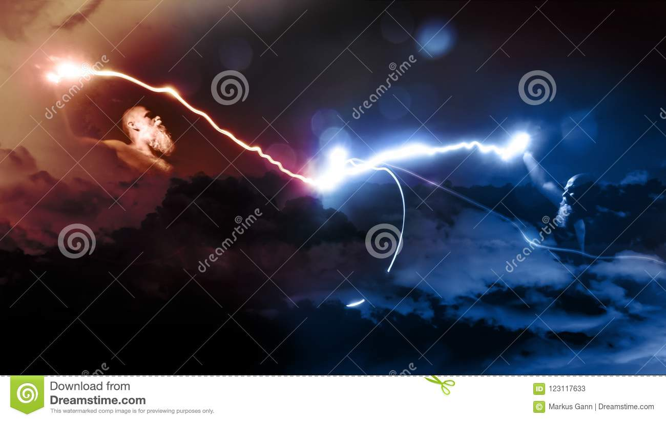 two gods fight with lightnings