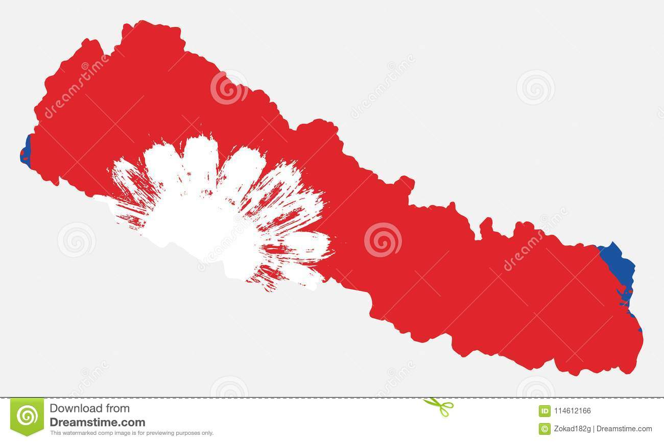 Nepal Flag & Map Vector Hand Painted With Rounded Brush Stock Vector ...