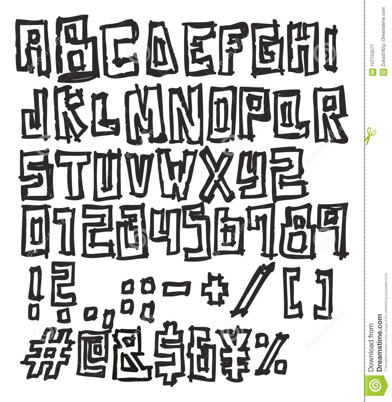 Thin Pen Doodle Block Bold Vector Font With Uppercase Letters